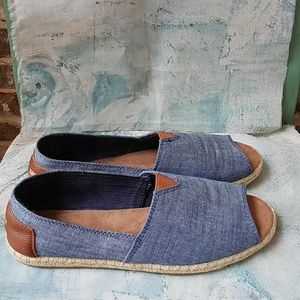 TOMS Alpargata Chambray and Leather Espadrilles